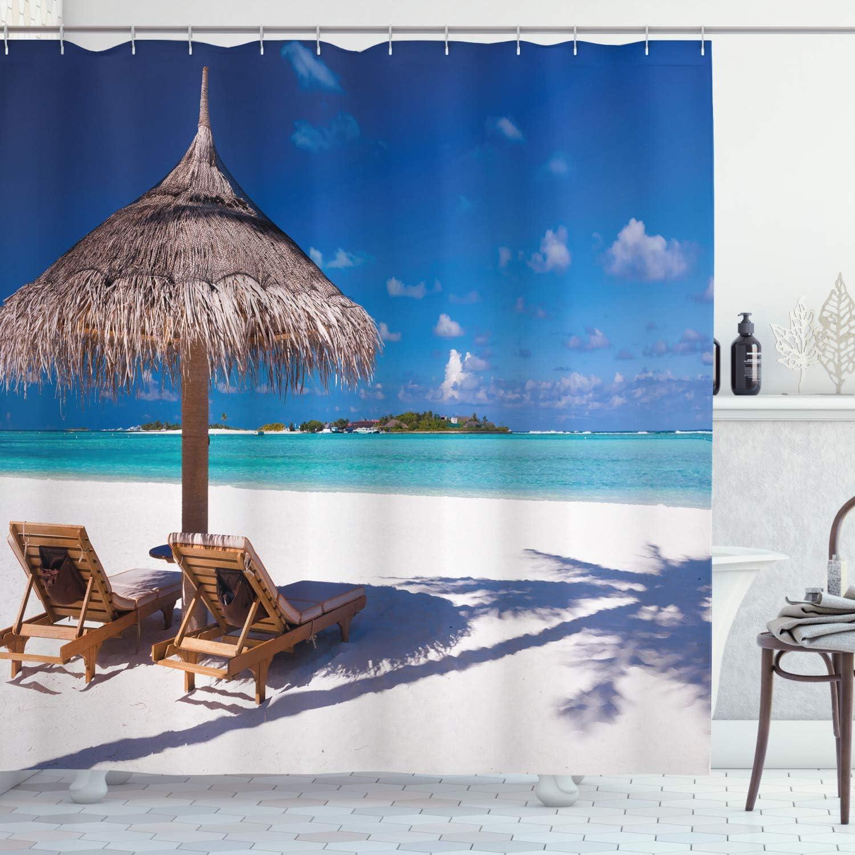 Ambesonne Landscape Shower Curtain, Island Caribbean Honeymoon Themed Beach Seashore Ocean Print, Cloth Fabric Bathroom Decor Set with Hooks, 70