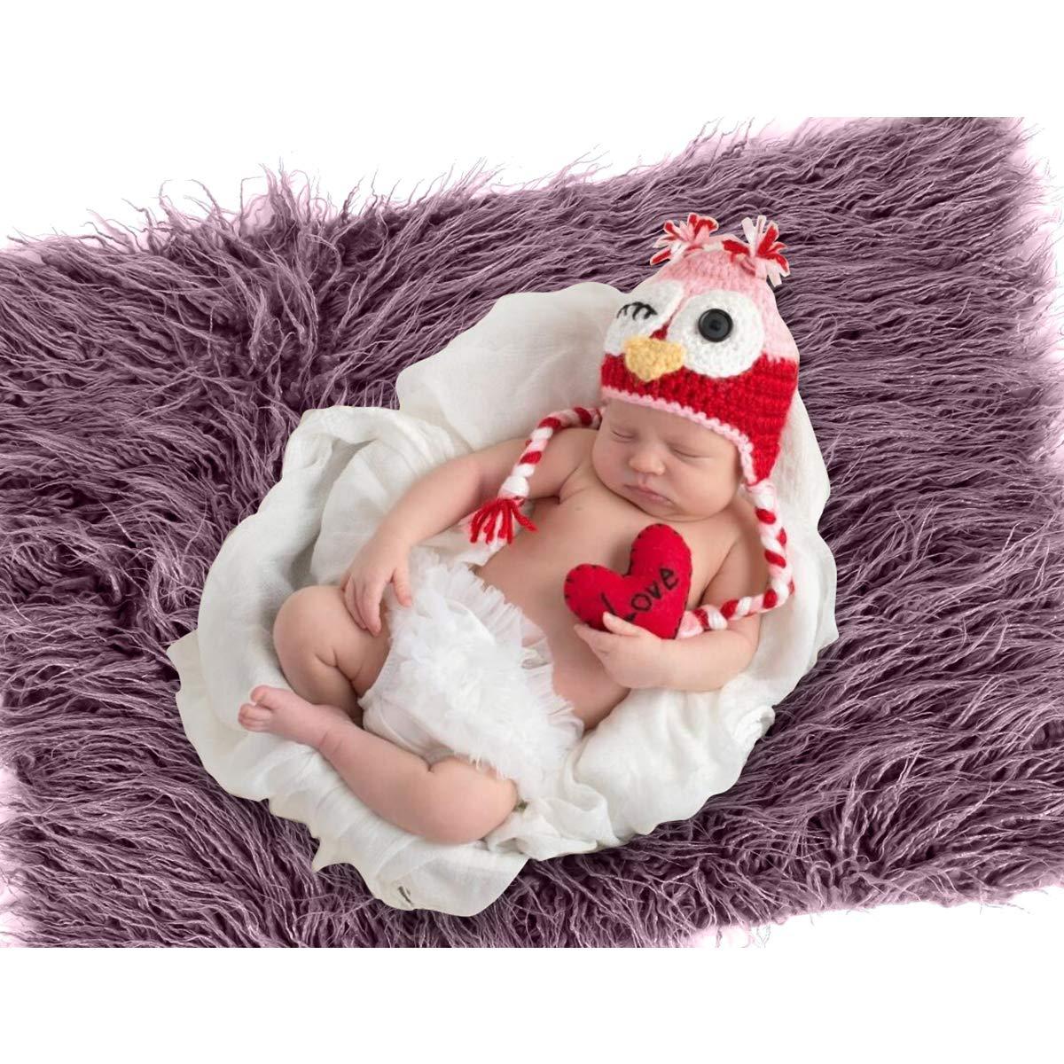 Taro Purple Yudanny Baby Foto-Requisiten flauschige Decke und geriffeltes Wickelset f/ür Neugeborene