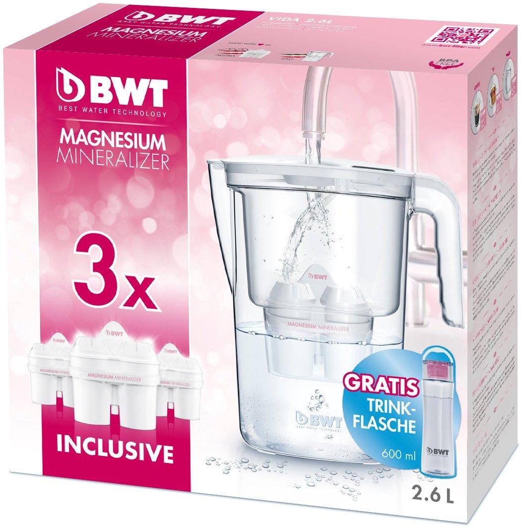 BWT 815487 - Jarra, 2,6 L, con 3 filtros de mineralizador de magnesio para filtrar 120 L de agua por unidad: Amazon.es: Hogar