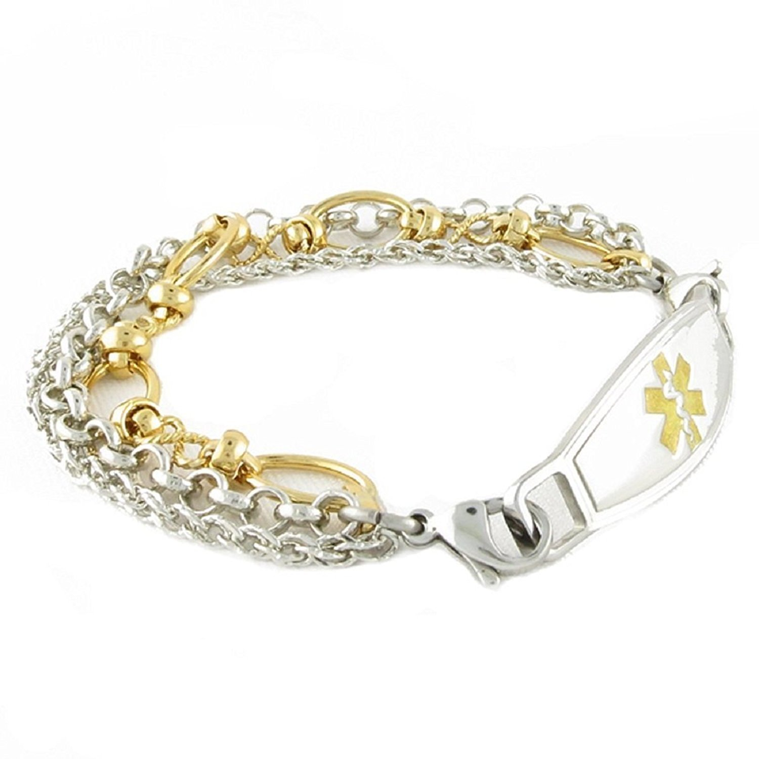 Women's Medical Alert ID Bracelet - Custom Engraving Included, Gold Antique, Stainless Steel - Trio, Size 7.75