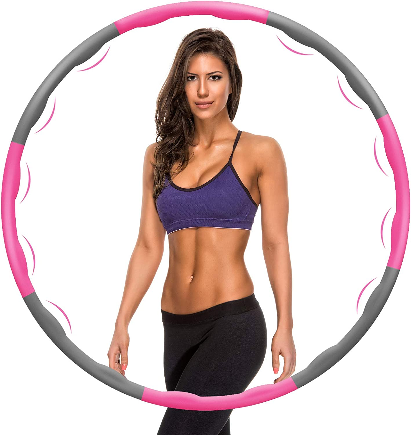 Ansontop Adult Hula Hoop Weighted Fitness Exercise Folding Fitness Hula Hoops Folding Fitness Wave 1kg Adjustable Width 75-95cm for Fitness Exercise Gym,Weight Loss//Abdominal Shaping//Home(Pink+Gray)