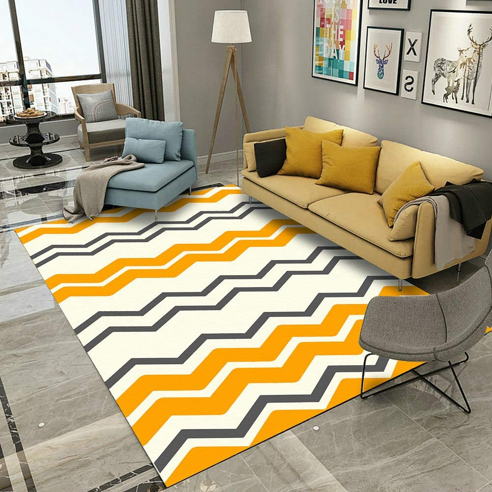 YAMTION Bedroom Rugs, 4'x 6 Modern Multi-Function Area Rugs Collection, Non Slip Abstract Wave Yellow Soft Shaggy Carpet, Indoor Living Room Rugs in Nursery, Dining Room, Office, Dormitory