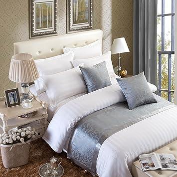 OSVINO Bettläufer Jacquard Modern Luxus Glatt Dekorative Bettdecken Für  Schlafzimmer Hotelzimmer, Grau 240x 50cm Für