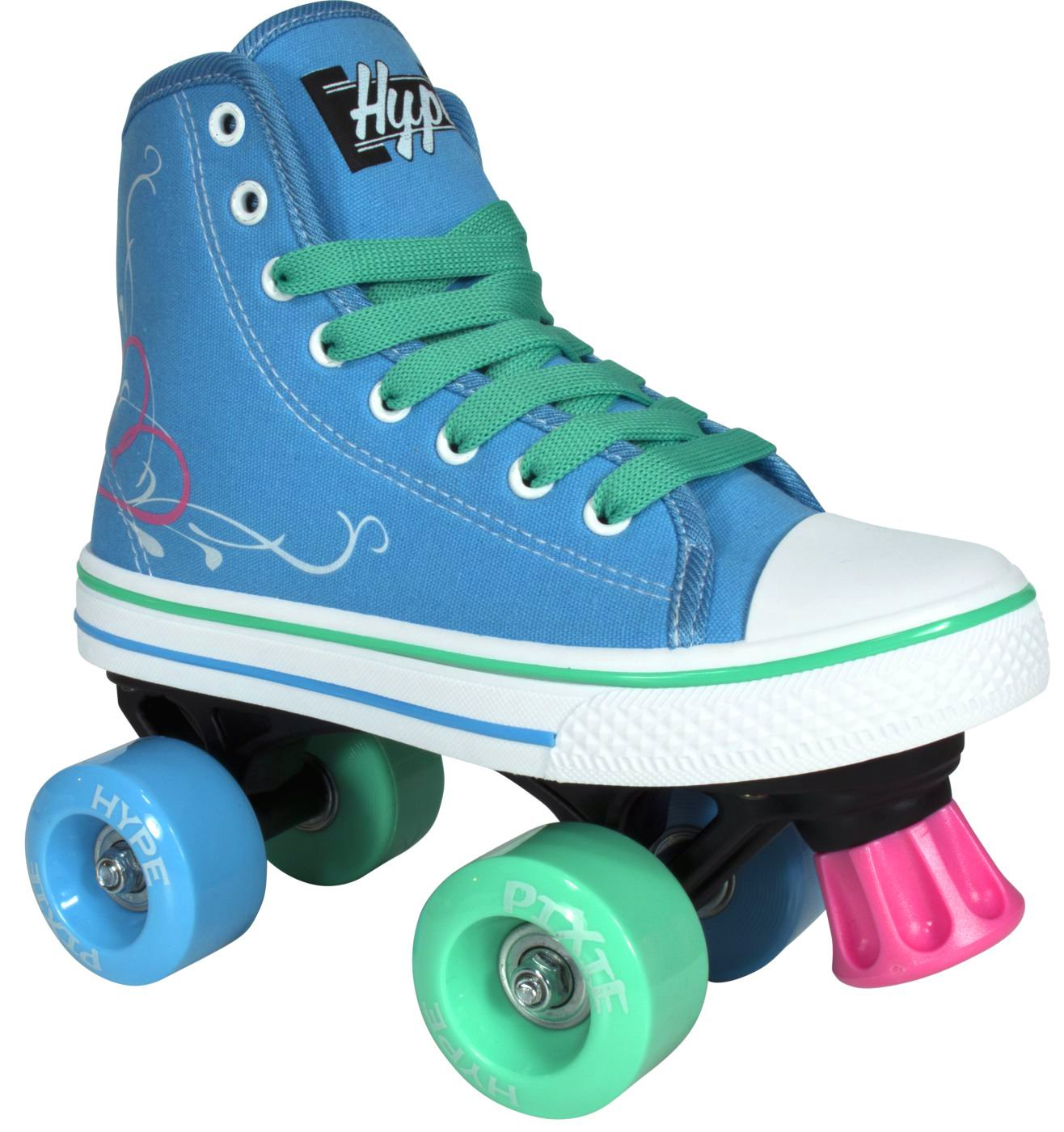 Roller Skates for Girls | HYPE Pixie Kid's Quad Roller Skates with High Top Shoe Style for Indoor / Outdoor Skating | Durable, Easy to Skate, Made for Kids (Blue, J13)
