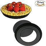 WisFox 2 pezzi Teglia antiaderente per torte basse con base amovibile,Teglie per Pizza Rotonde, teglia forno, stampo per crostata, 23cm di diametro