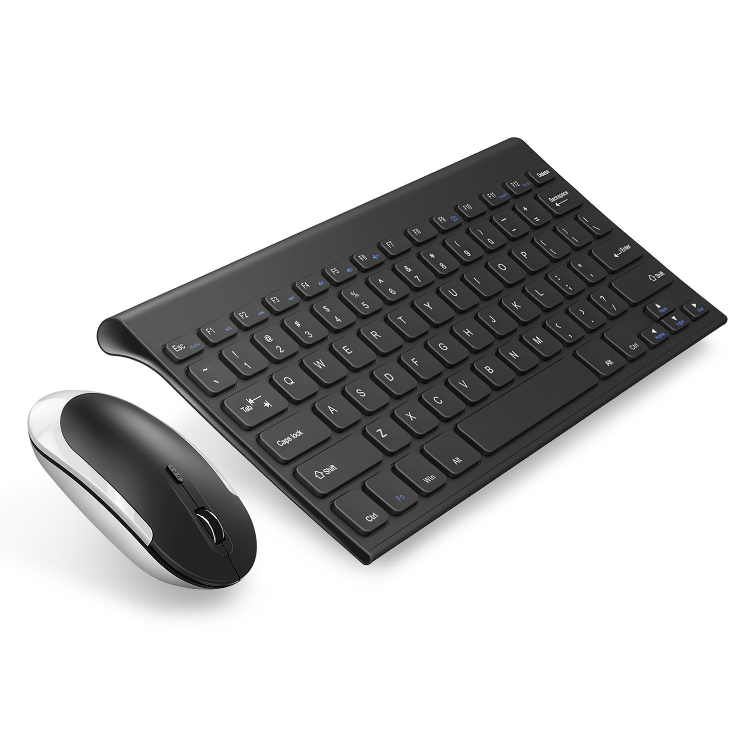 Keyboard Mouse, Jelly Comb 2.4 G Ultra Slim Rechargeable Wireless Keyboard and Mouse Combo for Laptop Desktop PC Computer (Black)