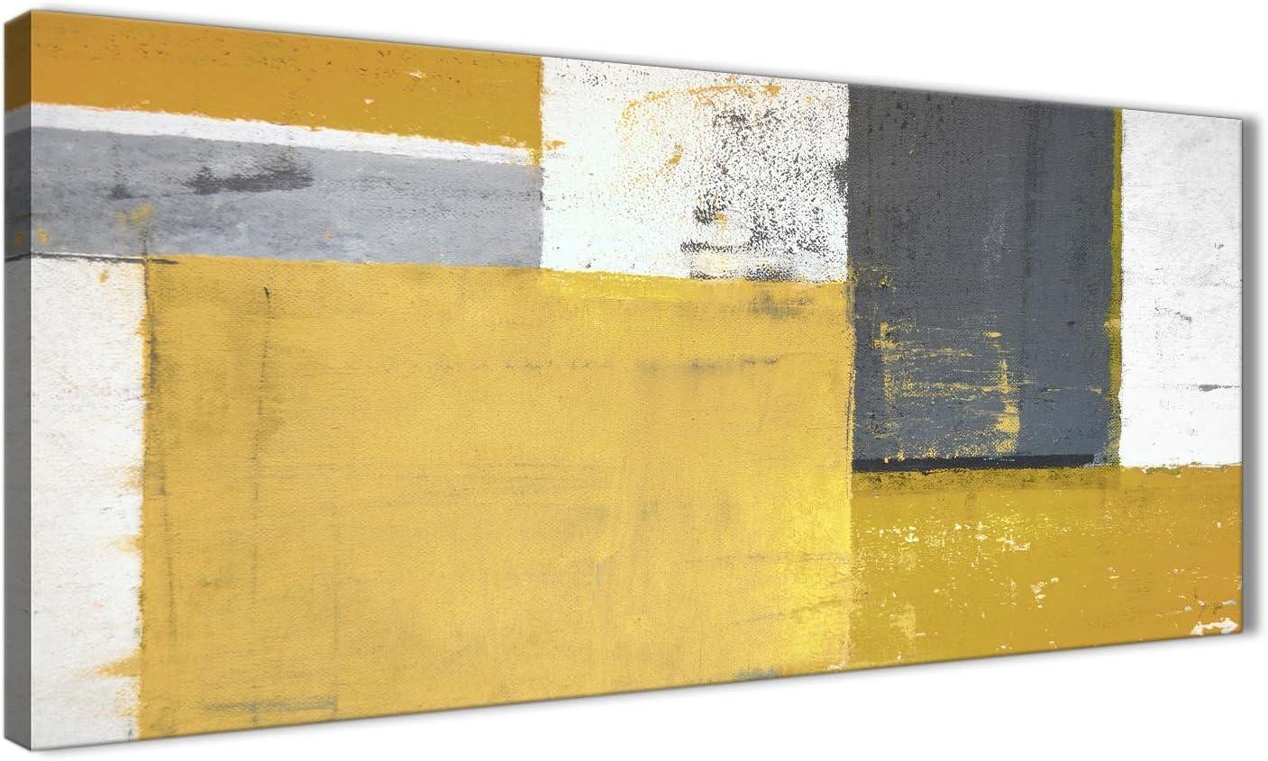 Lienzo decorativo abstracto para pared, 120 cm de ancho, colores mostaza, amarillo y gris