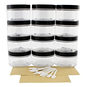 4oz Clear Plastic Jars with Labels & Spatulas & Lids (12-Pack); Straight Sided PET Low Profile BPA-Free Containers Great for Cosmetics, Kitchen, Gifts & Travel (12-Pack, Clear)