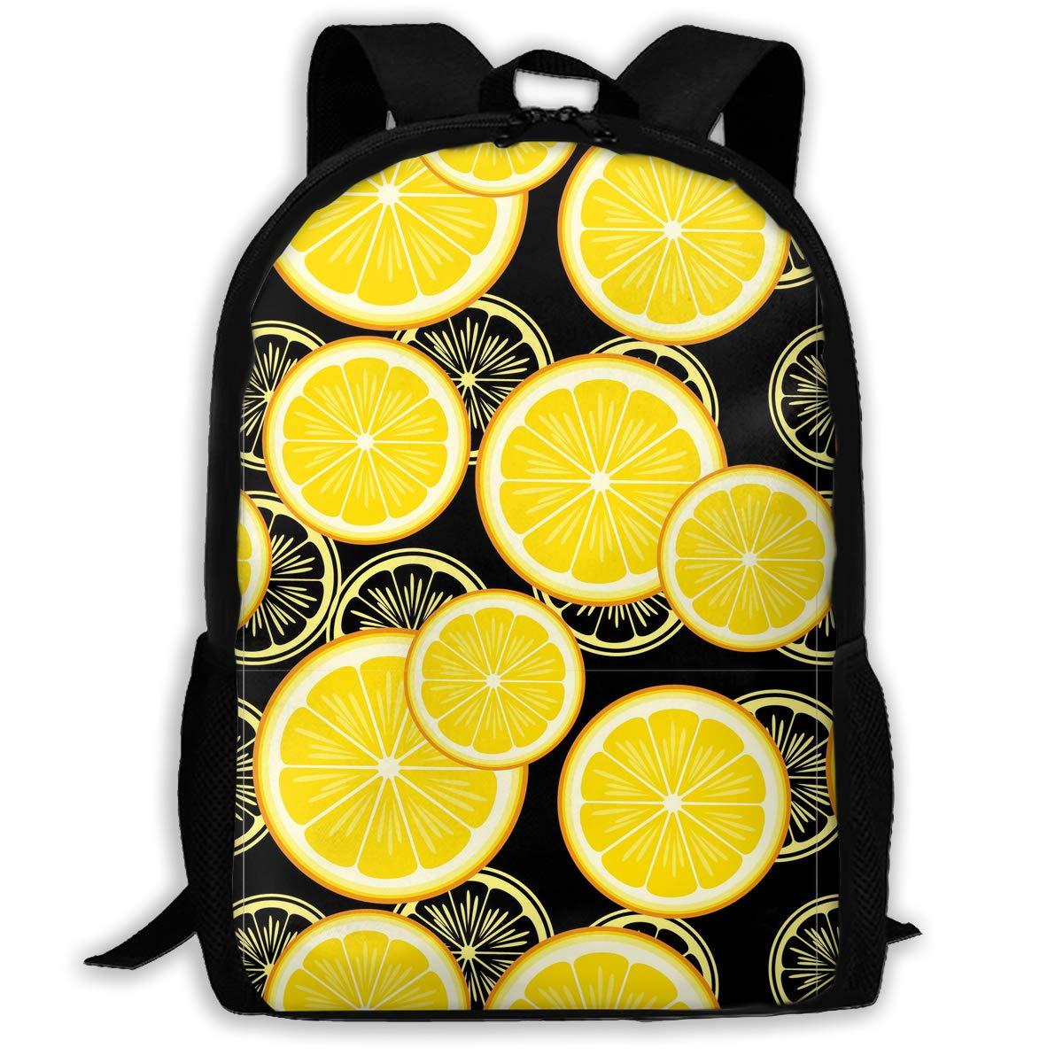 TAOHJS106 Lemons Pattern Waterproof Adult Backpack Shoulder Bag for Women  and Men Premium Durable Rucksack Bookbag Best for Athletic b020794716