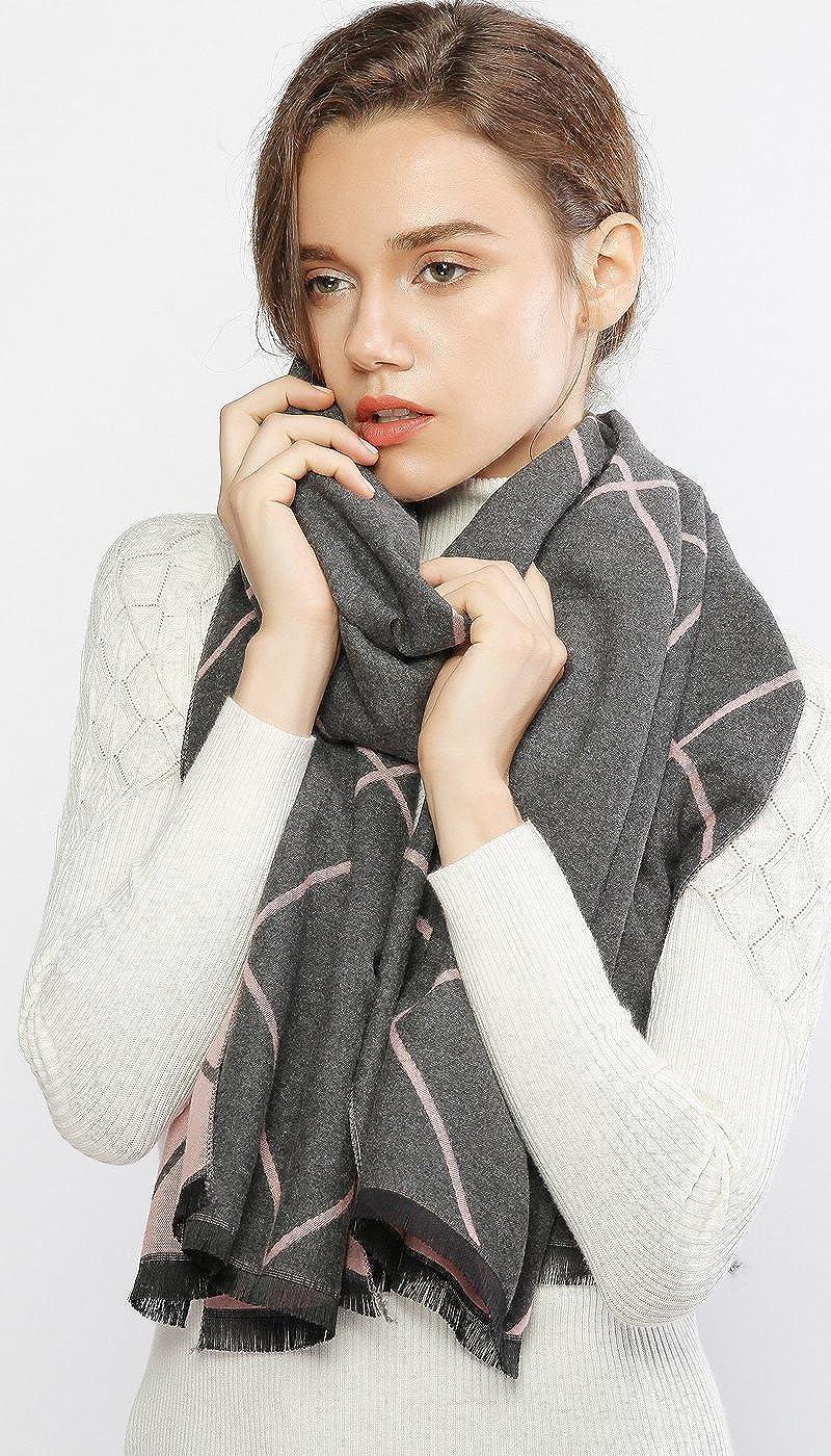 RIIQIICHY Women Winter Cashmere Scarf Pashmina Shawl Wrap with Tassel Plaid Reversible