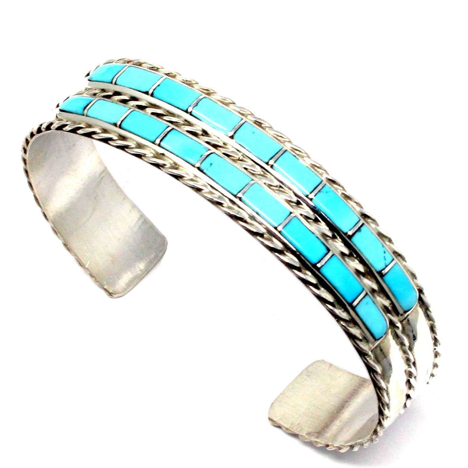 L7 Enterprises Zuni Double Row Multi Color Inlay Bracelet by Chavez | 5 2/5'' Tip to Tip (Fits a wrist of up to 6.25'' in circumference) (Stabilized-turquoise)