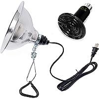 Simple Deluxe PTCLAMCR100M - Foco de cerámica infrarroja para Reptil y lámpara de Calor con Abrazadera de 150 W y Reflector de Aluminio de 8.5 Pulgadas para Mascotas anfibias, Color Negro