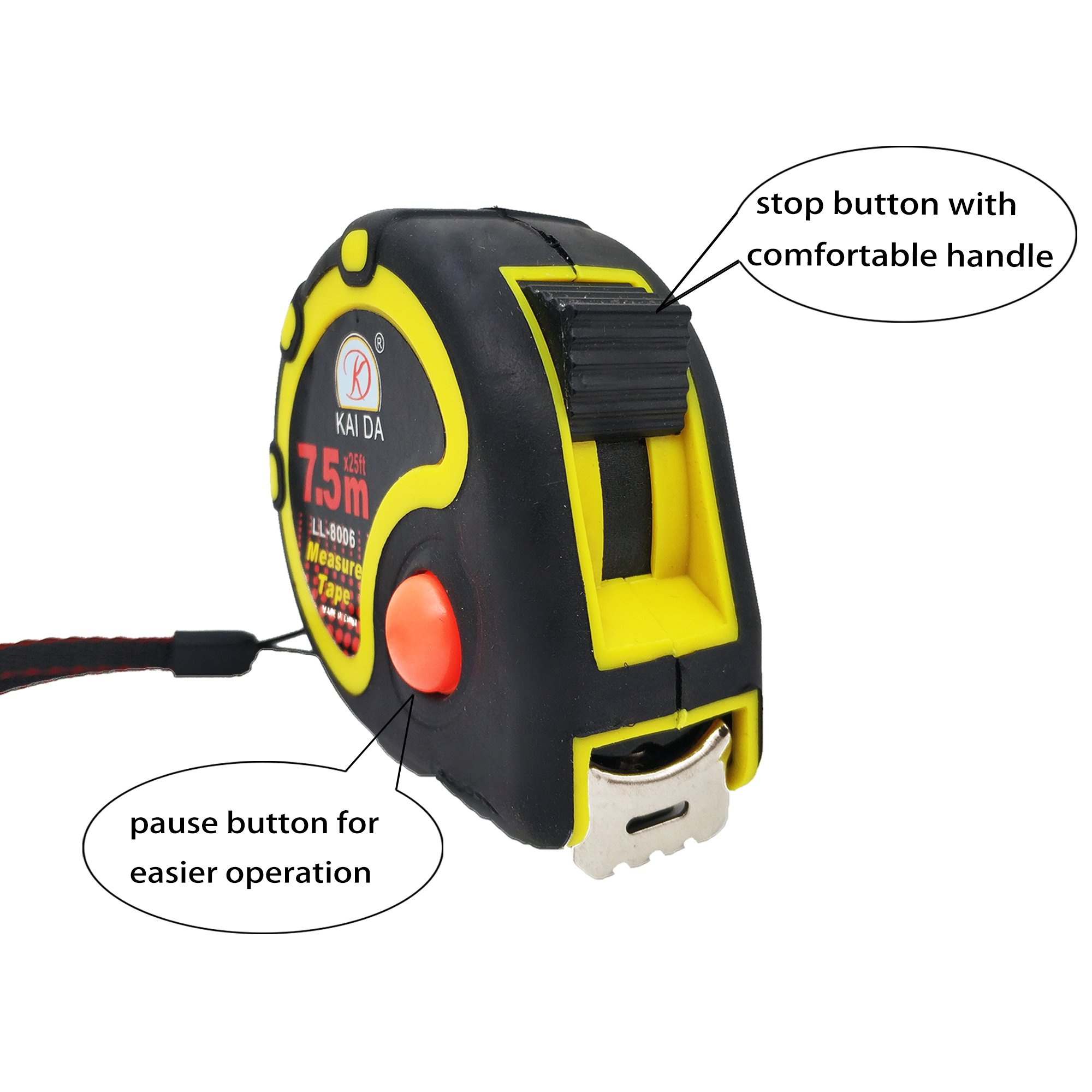 JSHOTS Tape Measure,Inches And Metric Measurement 25ft(7.5m), Tape Measure Retractable,Measuring Tape,Strong Belt Clip,Impact Resistant Rubber Covered Case by JSHOTS (Image #2)