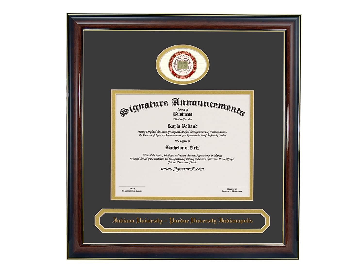 Gold Accent Gloss Mahogany 16 x 16 Signature Announcements Indiana Purdue-University-Indianapolis Doctorate Sculpted Foil Seal /& Name Graduation Diploma Frame