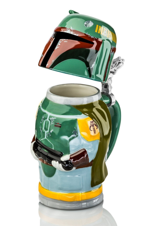 Star Wars Boba Fett Stein - Collectible 22oz Ceramic Mug with Metal Hinge