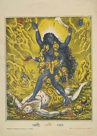 Indische Kunst Göttin Kali Auf Dem Schlachtfeld Schritt über Einen