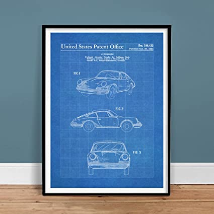 Amazon porsche 911 carrera 1964 patent art blueprint 18x24 porsche 911 carrera 1964 patent art blueprint 18x24 print poster gift 356 996 997 turbo original malvernweather Images