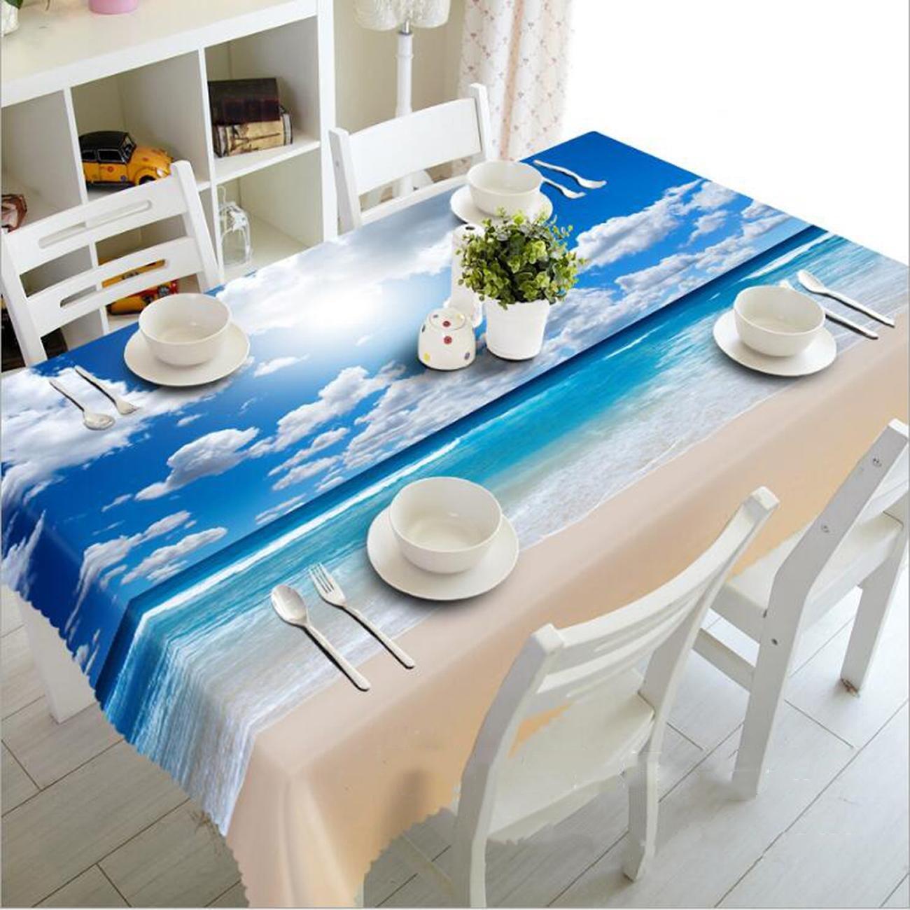 Blauer Himmel und weiße Wolken der Tischdecke-3D Polyester Digital-Druck staubdichte rechteckige Abendessen-Tischplattenoberseite, Rectangle 80cm130cm B07JNMZ3H3 Tischdecken Großer Räumungsverkauf | Neuankömmling