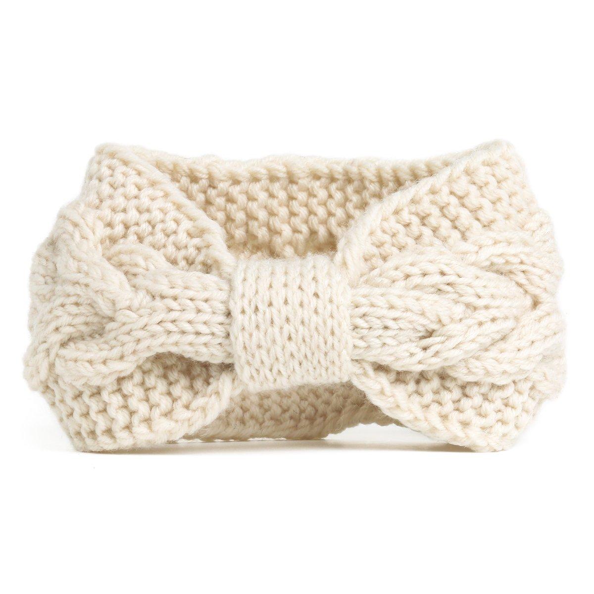 Nishaer Womens Wide Chunky Cable Knitted Turban Headband Beige