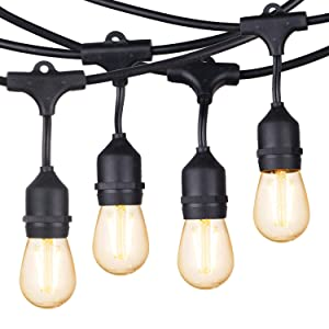 Brightown 48Ft. Shatterproof Outdoor String Light S14 with 15 Dimmable LED Vintage Edison Bulbs-Commercial Grade Patio Lights for Pergola Bistro Gazebo Backyard Cafe, Warm White
