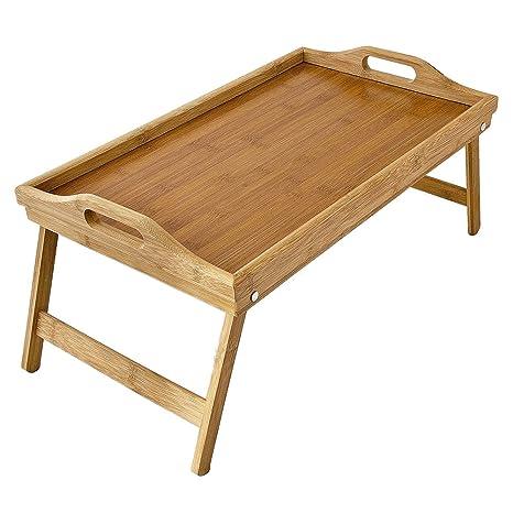 DoubleBlack Bambú Bandeja Desayuno Cama con Patas para Servir Mesa Plegable Cama