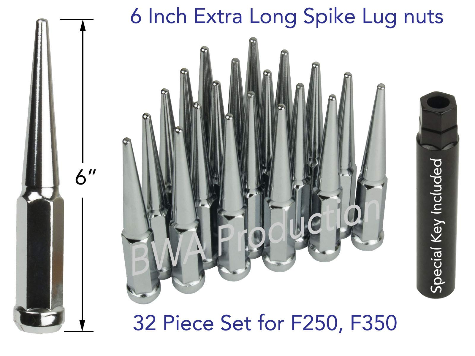 BWA 32 PCs Extra Long 6'' Tall 14x1.5 Chrome Spike Lug Nuts with Key, Designed to Fit 1999-2019 Chevy Silverado 2500 3500,|1999-2019 GMC Sierra 2500 3500,|2012-2019 Ram 2500 3500