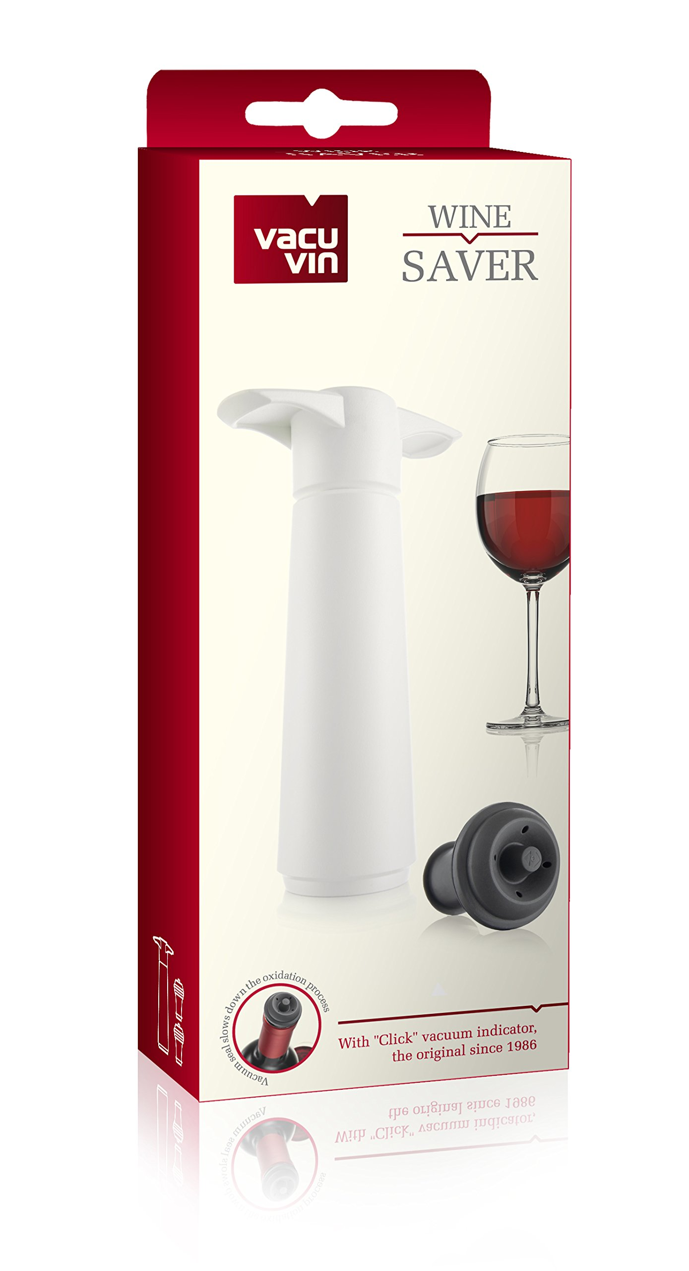 The Original Vacu Vin Wine Saver with 2 Vacuum Stoppers – White by Vacu Vin (Image #5)
