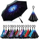 DILIP New Fancy Design Double Layer Inverted Umbrella Umbrella for Car Rain Outdoor with C-Shaped Handle Multi Color,Umbrella for Women Stylish, Umbrella Big Size(one Piece, Assorted Color
