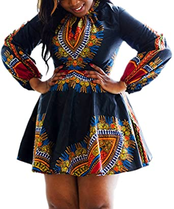 Women\'s African Print Plus Size Long Sleeve Dashiki Skater Dress at ...
