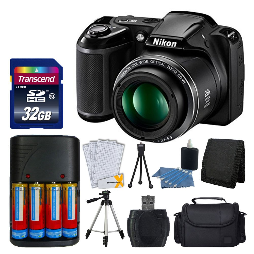 Nikon COOLPIX L340 20MP Digital Camera (Black) + AA Batteries & Charger + Transcend 32GB SDHC Memory Card + 50'' Quality Tripod - Full Value Bundle - International Version (No Warranty) by Nikon
