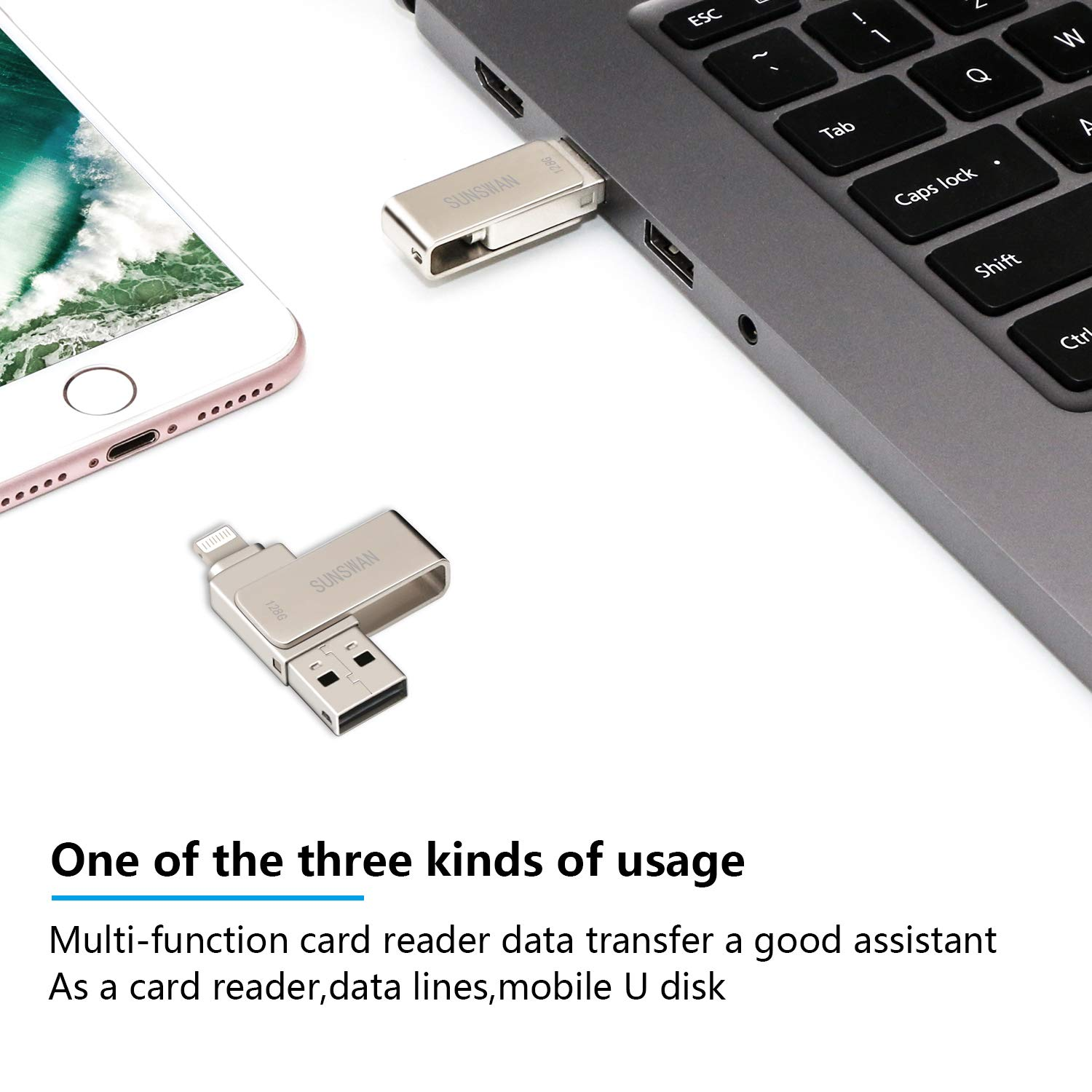 USB Drive 128GB USB Memory Stick iOS Flash Drives for iPhone Photo Stick External Drive Sunswan Compatible iPhone iPad iOS MacBook and Computer (Silver128G-XY) by sunswan (Image #3)