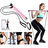Artoflifer Exercise Resistance Band Yoga Pilates Bar Kit Portable Pilates Stick Muscle Toning Bar Home Gym Pilates with Foot Loop for Total Body Workout (Pink)