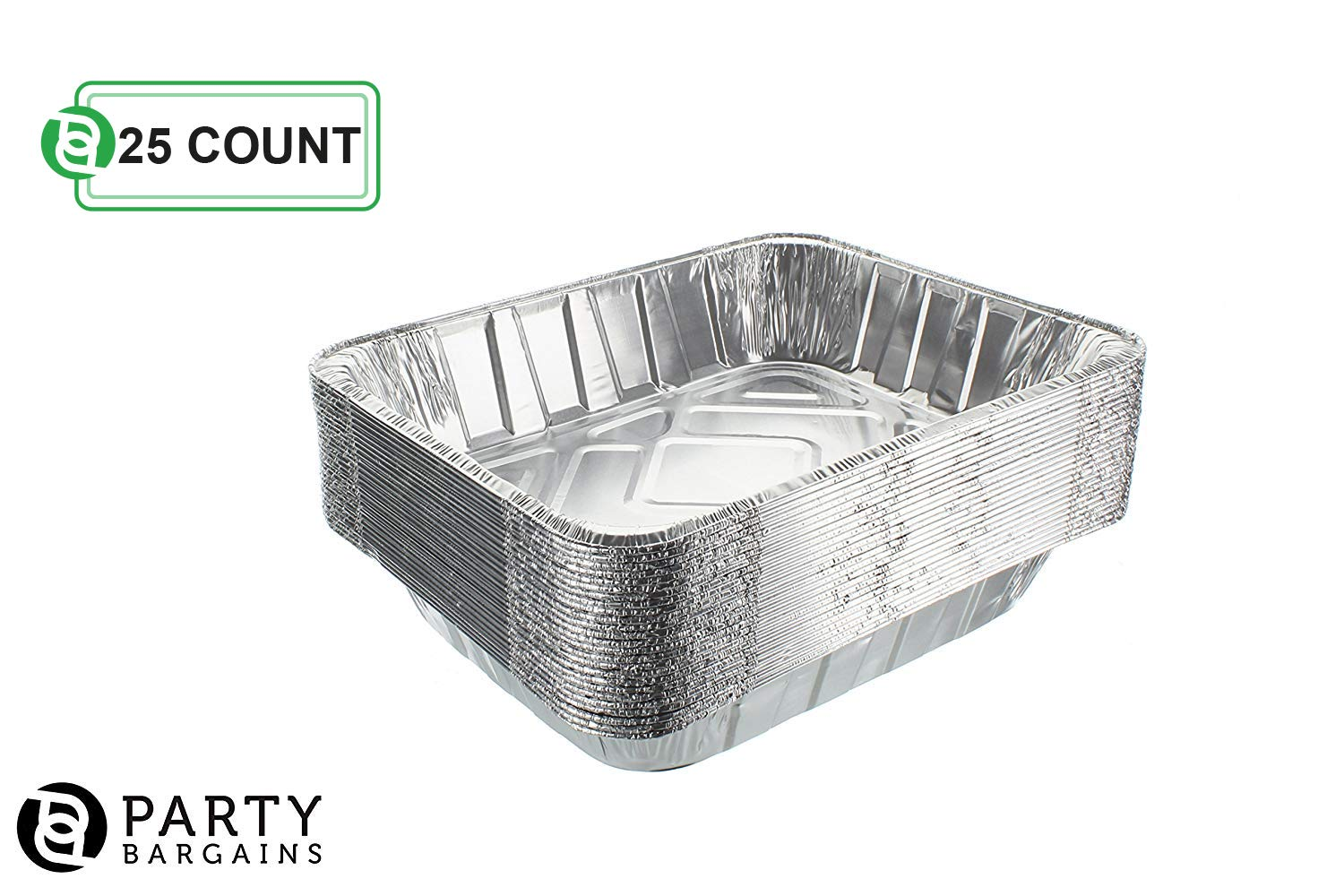 Aluminum Foil Pans   Disposable Pan Containers with Lids Set   Excellent for Broiling, Roasting, Grilling, Baking Cakes, Pies, Lasagna, More   9 x 13 Half Size Deep Steam Table Pans   25 Count by Party Bargains (Image #3)