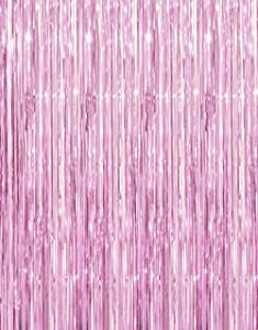 GOER 3.2 ft x 9.8 ft Metallic Tinsel Foil Fringe Curtains for Party Photo Backdrop Wedding Decor (Light Pink,1 Pack)