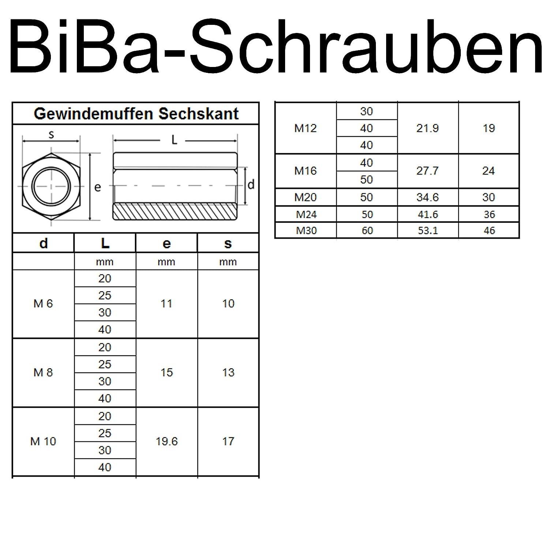 BiBa-Schrauben Gewindemuffen M12 x 50 sechskant SW19 2 St/ück Edelstahl A2 V2A VA Distanzmuttern Verbindungsmuttern Langmuttern