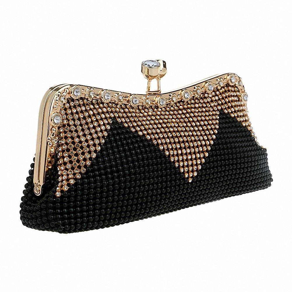 Afibi Women Handbags Rhinestone Evening Bags Crystal Party Clutches Bag (Black)