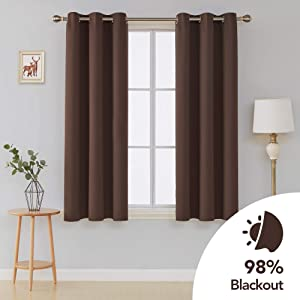 Deconovo Room Darkening Curtain Grommet Thermal Insulated Curtains 42 Inch by 54 Inch Chocolate 2 Panels