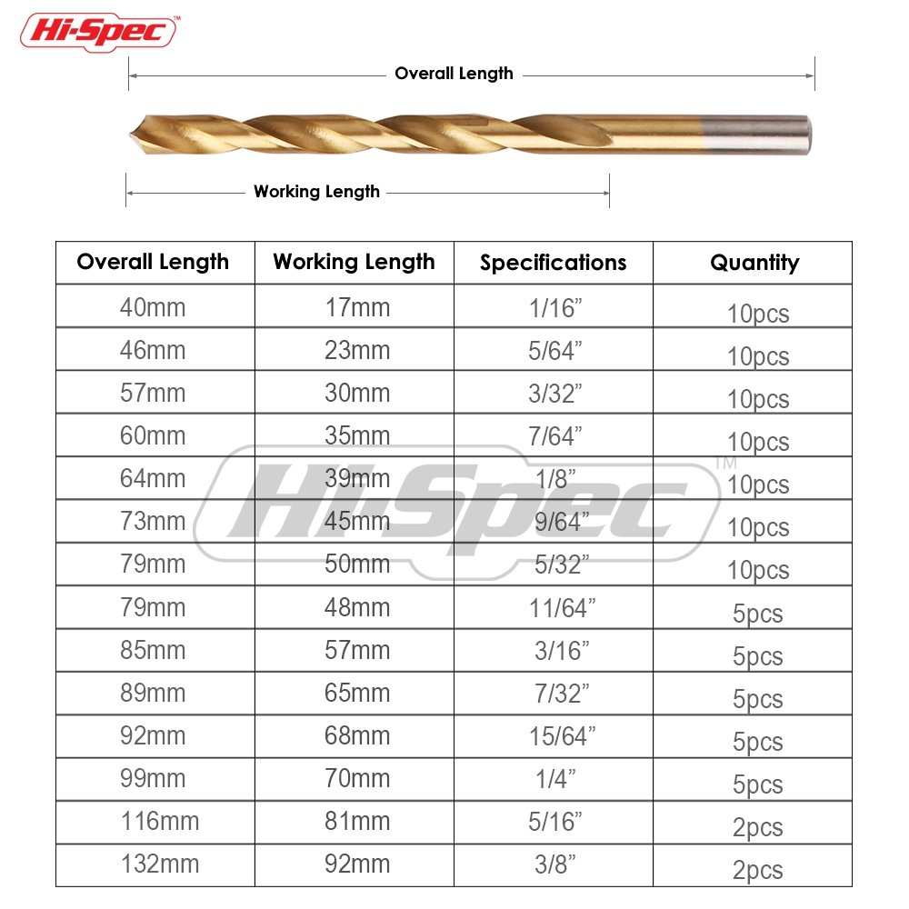 Hi-Spec 99pc Titanium-Coated HSS Drill Bit Set of Most Popular Bit Sizes for Wood 1//16 to 3//8 Steel /& Plastic in Tough Storage Case