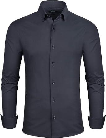Grin&Bear Camisa Hombre, Negro, Extra Slim, L, SH333: Amazon ...