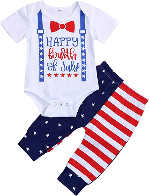 My First 4th of July Outfit Baby Boys American Flag Romper Star Striped Shorts Pants Summer Birthday Clothes 2pcs Set