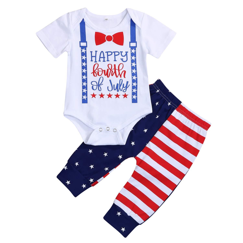 Amazon.com: Mi primer 4 de julio Bebé Niños conjuntos cortos ...