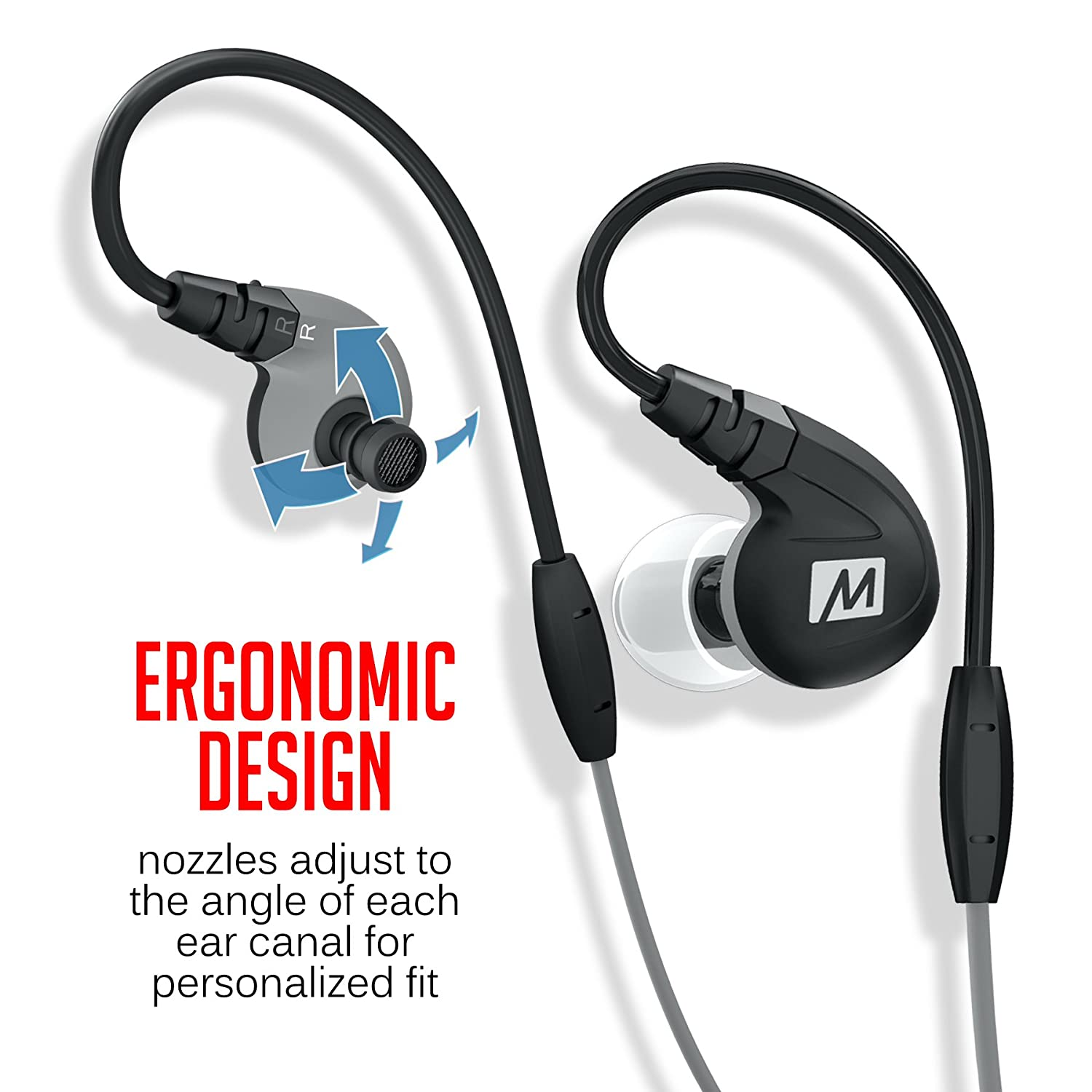 Buy MEE audio M7P Secure-Fit Sports In-Ear Headphones with Mic, Remote, and Universal Volume Control (Black) Online at Low Prices in India - Amazon.in