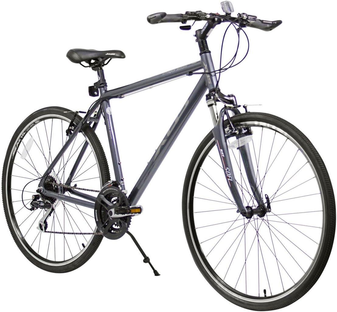 XDS Cross 300 Bicicleta híbrida de 24 velocidades, 52 cm, Gris ...