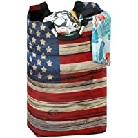 CaTaKu Happy Holiday Laundry Hamper, American Flag Laundry Basket Box Big Storage Waterproof Easy Carry for Family…