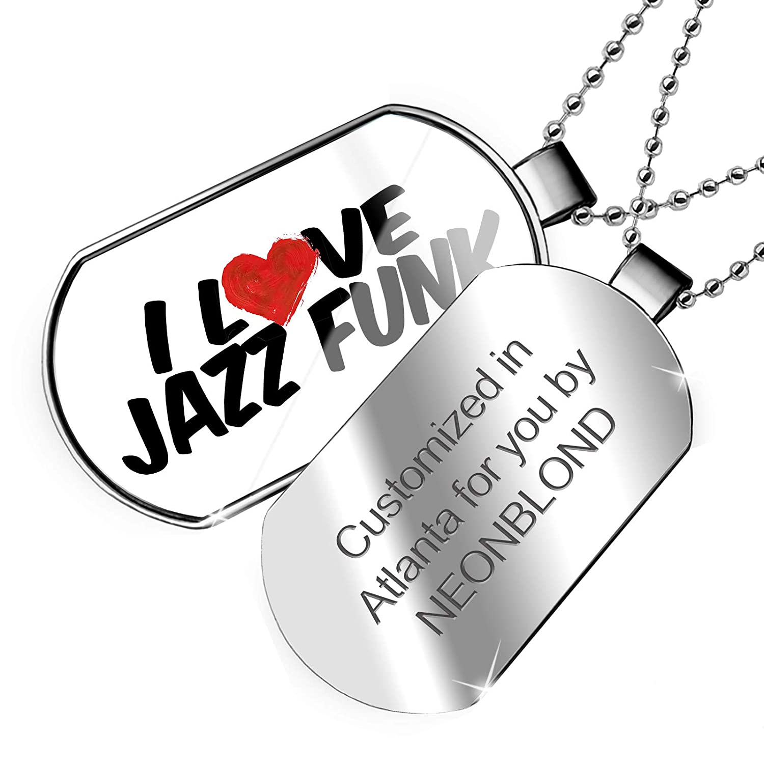 NEONBLOND Personalized Name Engraved I Love Jazz Funk Dogtag Necklace