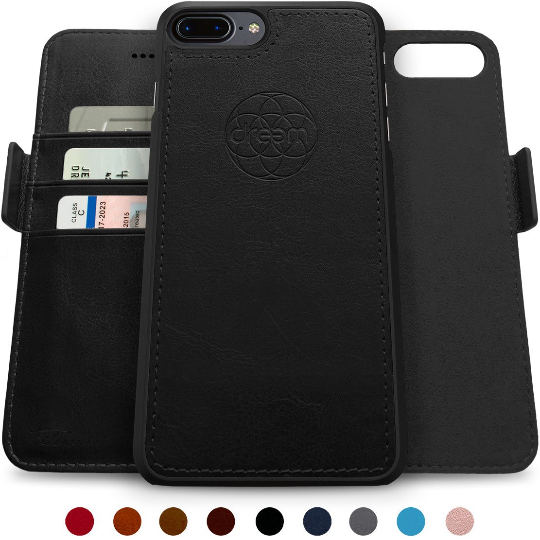 Dreem Fibonacci 2-in-1 Wallet-Case for iPhone 8-Plus & 7-Plus, Magnetic Detachable Shock-Proof TPU Slim-Case, Wireless Charge, RFID Protection, 2-Way Stand, Luxury Vegan Leather, Gift-Box - Black by dreem