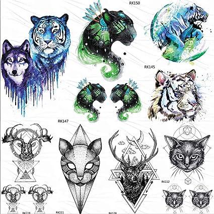 KAMRL Tatuaje Falso Tatuaje Falso Leopardo Tiger Cat Tribal ...