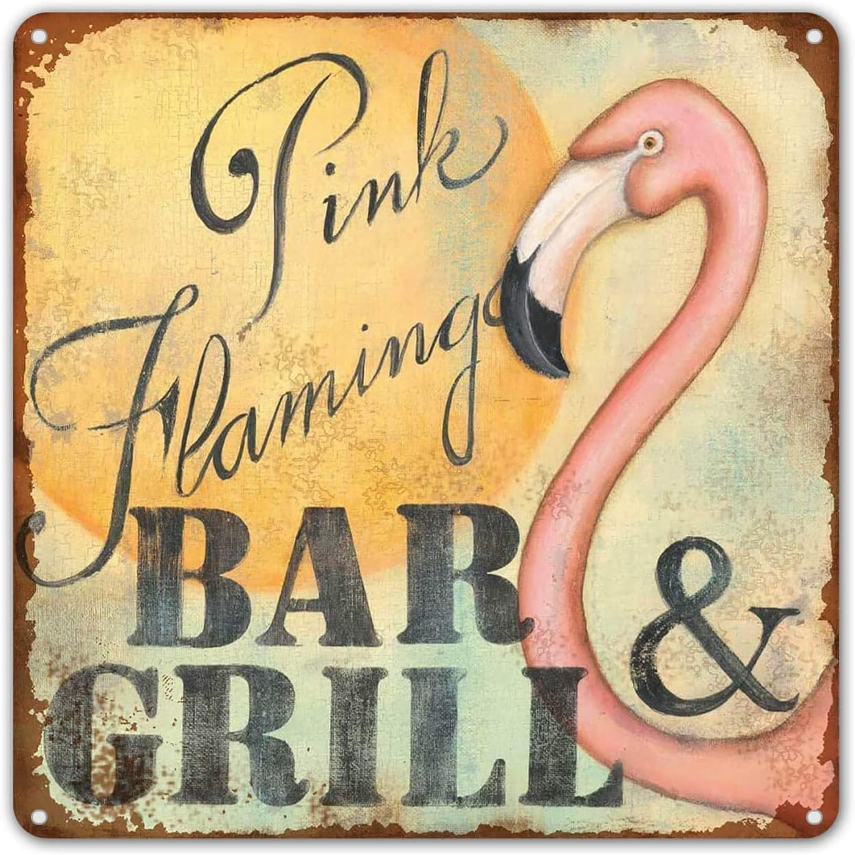 ZYPENG Pink Flamingo Bar & Grill Retro Metal Printing Wall Poster Tin Sign Wall Painting Art Metal Decor Plaques 8x8 8 x 8 inches