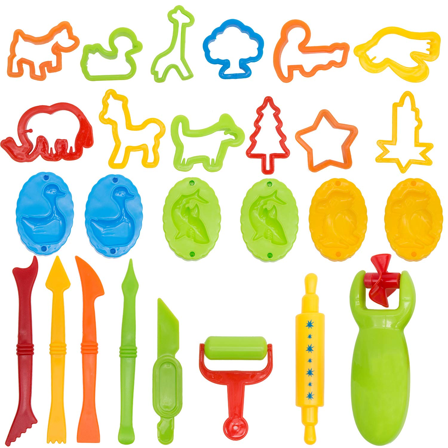 Yansion Dough Tool Clay Dough Tools Kit 43 Pieces with Molds Cutters Rollers Animal Shapes