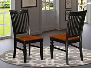 East West Furniture WEC-BCH-W Weston Dining Wood Seat Chair, Slatted Back, Black and Cherry Finish